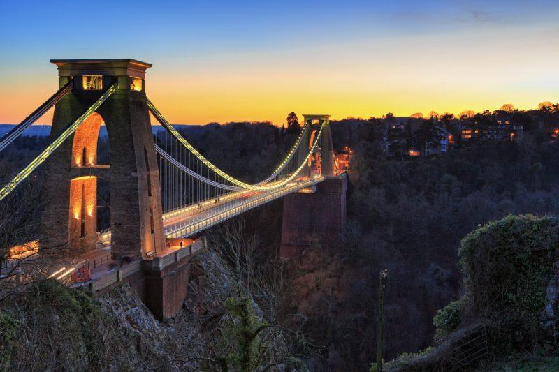 Clifton Suspension Bridge At Sunset